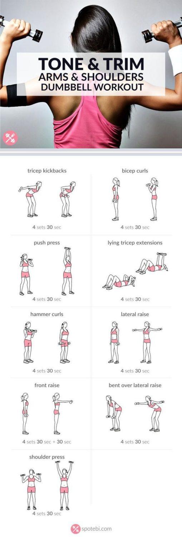 Einfache Übungen für Training der Arme und Schultern